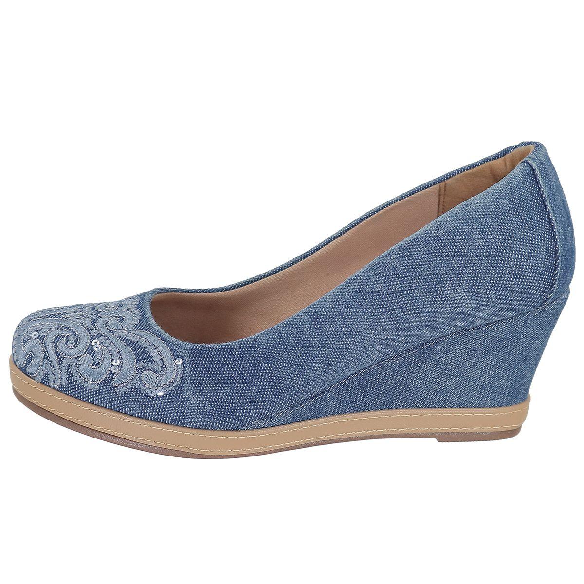 fe4b857c38 Sapato Scarpin Feminino Anabela Jeans